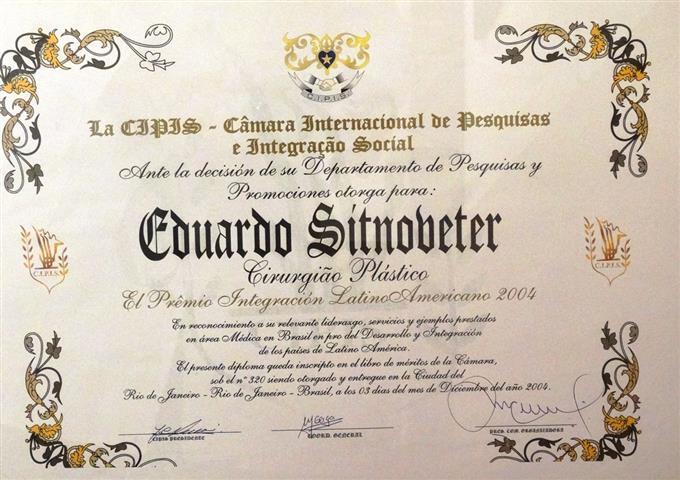 Premio Integração Latino Americano de Cirurgia Plástica.